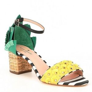 Kate Spade Wiatt Pineapple Stud Stripe Block Heels